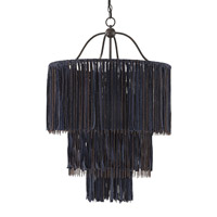 Currey & Company Bogo 4 Light Chandelier in Bronze Gold and Indigo 9846