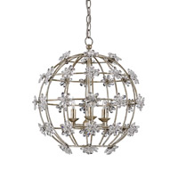 Fleur 3 Light 20 inch Silver Granello Chandelier Ceiling Light