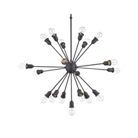 Dandelion 19 Light 36 inch Mole Black Chandelier Ceiling Light