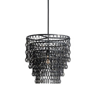 Currey & Company Fenwick 1 Light Pendant in French Black 9863