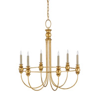 Currey & Company Fairlight 6 Light Chandelier in Gold Granello 9866