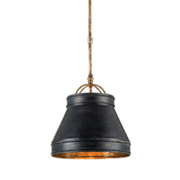 Currey and Company Lumley 1 Light Pendant in French Black and Pyrite Bronze 9868