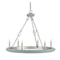 Currey & Company Tidewater 6 Light Chandelier in Silver Granello and Seaglass 9870