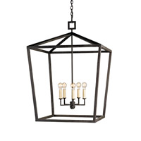 Currey & Company 9871 Denison 5 Light 32 inch Mole Black Lantern Ceiling Light