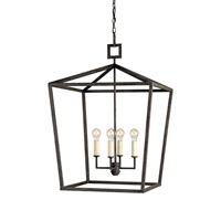Currey & Company 9872 Denison 4 Light 26 inch Mole Black Lantern Ceiling Light