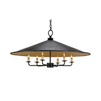 Brussels 6 Light 36 inch French Black/Contemporary Gold Leaf Pendant Ceiling Light