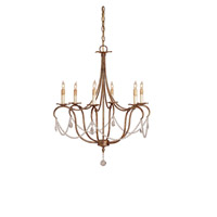 Currey & Company 9880 Crystal Light 6 Light 27 inch Rhine Gold Chandelier Ceiling Light