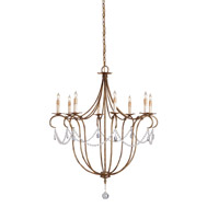 Crystal Light 8 Light 31 inch Rhine Gold Chandelier Ceiling Light