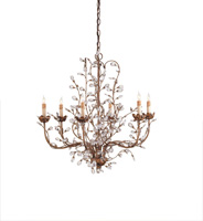 Currey & Company 9882 Crystal Bud 6 Light 28 inch Cupertino Chandelier Ceiling Light