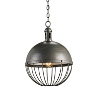 Currey & Company Verne 1 Light Pendant in Hiroshi Gray/Off White 9886