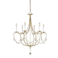 Currey & Company 9890 Crystal Lights 6 Light 27 inch Silver Leaf Chandelier Ceiling Light