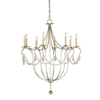 Currey & Company Crystal Lights 8 Light Chandelier in Silver Leaf 9891