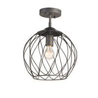 Currey & Company Simpatico 1 Light Semi-Flush in Hiroshi Gray 9894