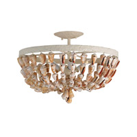 Currey & Company Waterside 3 Light Semi-Flush Mount in White Coral/Natural 9898
