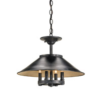 Currey & Company Darwin 4 Light Pendant in French Black/Antique White 9900