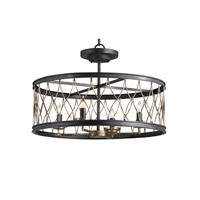 Currey & Company Crisscross 4 Light Semi-Flush Mount in French Black/Pyrite Bronze 9902