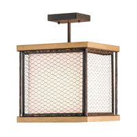 Currey & Company Toolshed 1 Light Semi-Flush Mount in Rusty Gold /Washed Wood 9903
