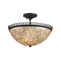 Currey & Company Edgewater 3 Light Semi-Flush Mount in Satin Black/Natural 9907