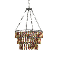 Currey & Company Leo 1 Light Pendant in Mole Black/Multi-Autumn 9911