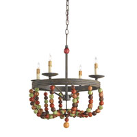 Currey & Company Rosalia 4 Light Chandelier in Old Rust/Multi-Autumn 9912