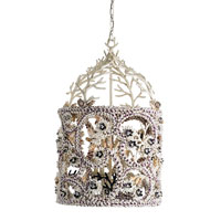 Currey & Company Farouche 4 Light Hanging Lantern in Natural and Coral White 9913