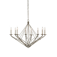 Currey & Company Verrazano 8 Light Chandelier in Annato Antique Silver 9924