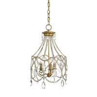 Currey & Company Eloise 3 Light Chandelier in Dutch Gold Leaf 9928