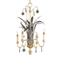 Currey & Company Capella 4 Light Chandelier in Viejo Silver Leaf and Dutch Gold Leaf  9929