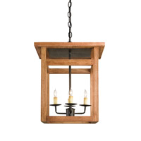 Currey & Company Smithson 4 Light Hanging Lantern in Distress Tangile Wood and Bronze Verdigris 9930