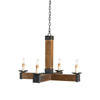 Currey & Company Knockout 4 Light Chandelier in Natural and Black Smith 9934