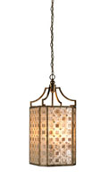 Currey & Company Nancy 4 Light Lantern in Antique Silver/ Amber 9940