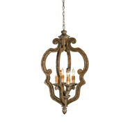 Currey & Company Chancellor 4 Light Chandelier in Distressed Silver Leaf 9942