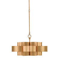 Grand Lotus 1 Light 20 inch Antique Gold Leaf Pendant Convertible Semi-Flush Ceiling Light