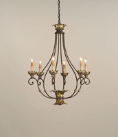 Currey & Company Romanza 6 Light Chandelier in Distressed Silver Leaf/ Gold Leaf 9947