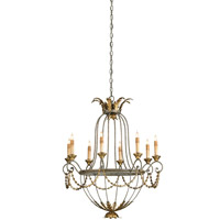 Currey & Company 9948 Elegance 8 Light 29 inch Etruscan/ Gold Leaf Chandelier Ceiling Light
