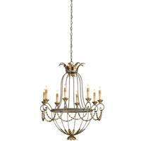 Currey & Company 9948 Elegance 8 Light 29 inch Etruscan/ Gold Leaf Chandelier Ceiling Light