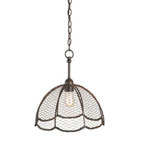 Currey & Company Raga 1 Light Pendant in Rust 9950