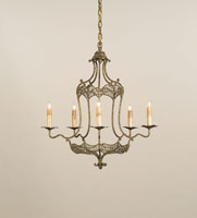 Currey & Company Charisse 5 Light Chandelier in Old Gold Leaf 9956