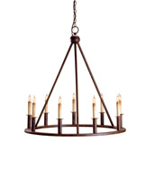 Currey & Company Florentine 9 Light Chandelier in Rust 9962