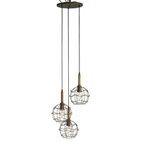 Currey & Company Sibley 3 Light Pendant in Shirley Rust and Chestnut 9968