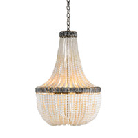 Currey & Company Hedy 4 Light Chandelier in Pyrite Bronze/Cream/Gray 9970