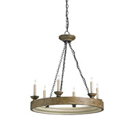 Currey & Company Beachhouse 6 Light Chandelier in Reclaimed Wood 9972