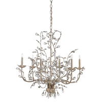 Currey & Company Crystal Bud 6 Light Chandelier in Silver Granello 9973