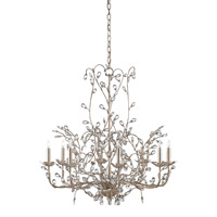 Currey & Company Crystal Bud 8 Light Chandelier in Silver Granello 9975