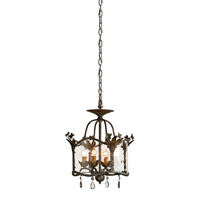 Currey & Company Zara 4 Light Pendant in Viejo Gold/Viejo Silver 9979