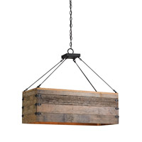 Currey & Company Billycart 3 Light Chandelier in Natural and Black Smith 9994