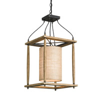 Currey & Company 9996 High Falls 1 Light 14 inch Reclaimed Wood and Black Smith Hanging Lantern Ceiling Light