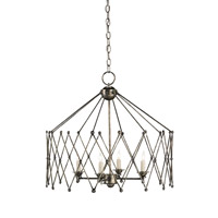 Currey & Company Accordion 4 Light Chandelier in Dirty Silver 9998