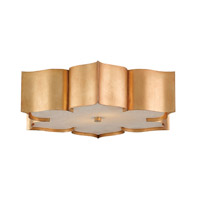 Currey & Company Grand Lotus 2 Light Flush Mount in Antique Gold Leaf 9999-0010