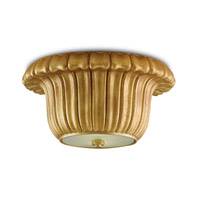 Bundt 2 Light 12 inch Chinois Gold Leaf Flush Mount Ceiling Light